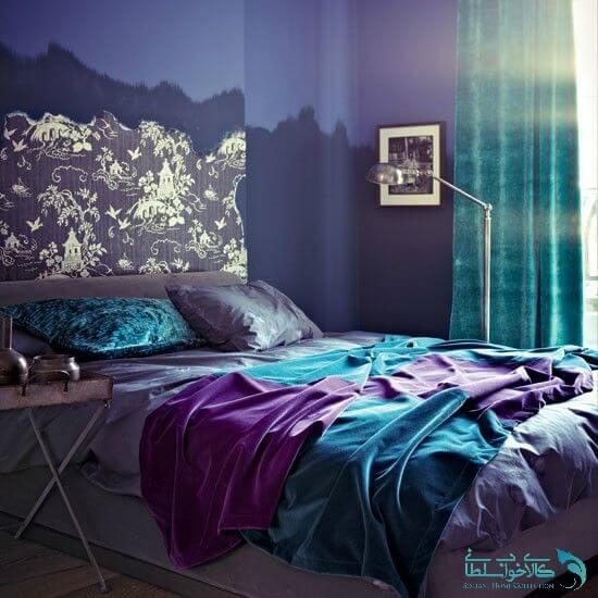 اتاق خواب فیروزه ای و بنفش